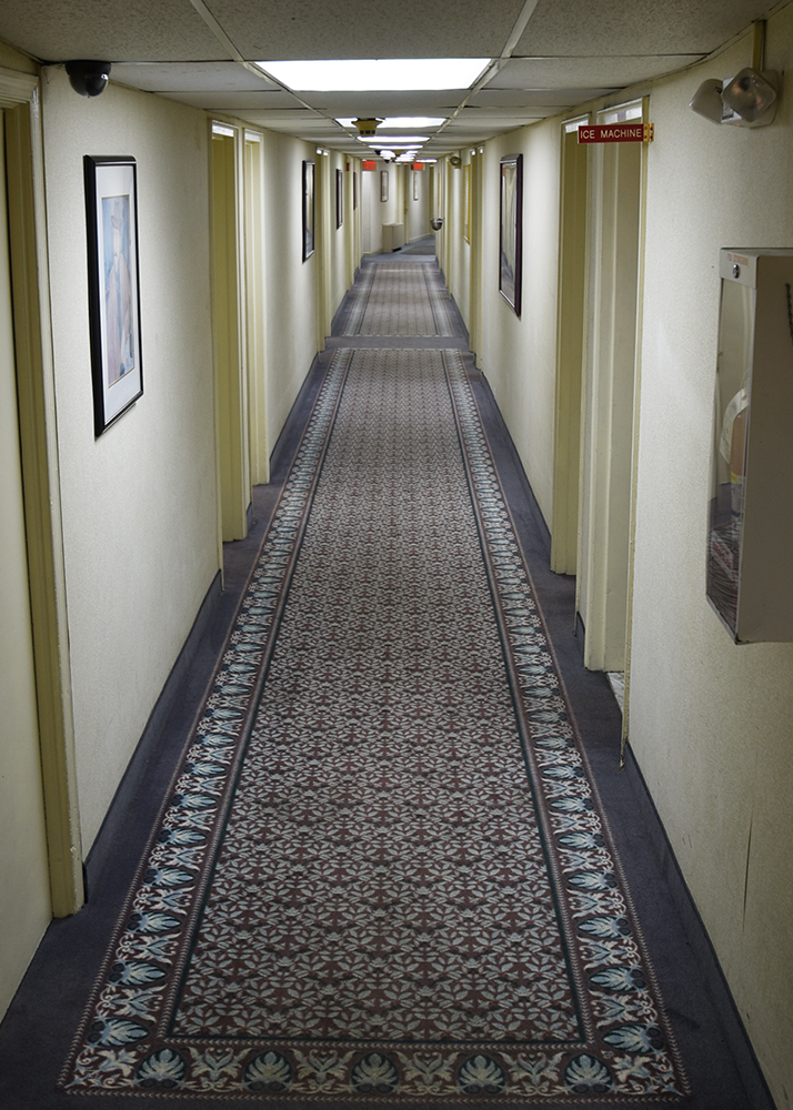 A hallway inside the Roosevelt inn showing the entrances to many hotel rooms